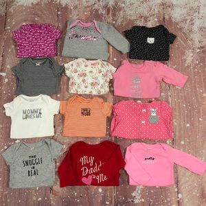 Baby Girl 3 Month Lot Of 12 Carters Onesies